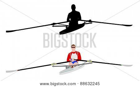 rower silhouette and illustration
