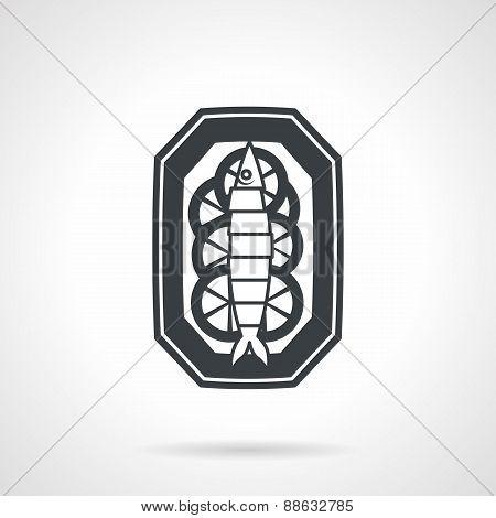 Fish dish black vector icon