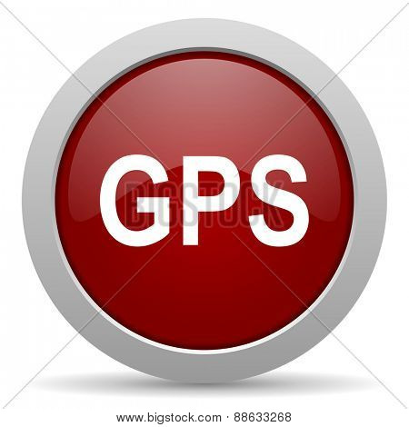 gps red glossy web icon