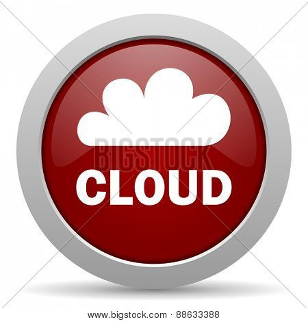 cloud red glossy web icon