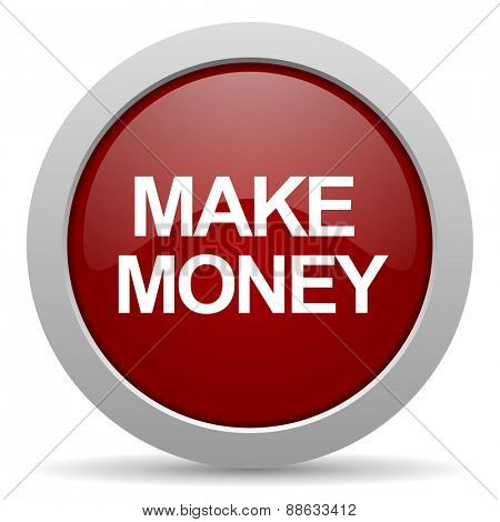make money red glossy web icon