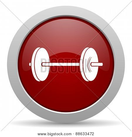 fitness red glossy web icon