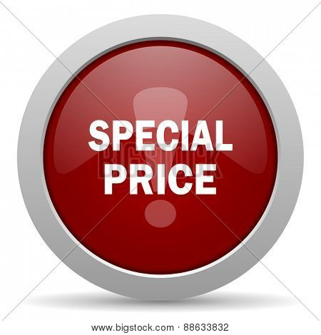 special price red glossy web icon