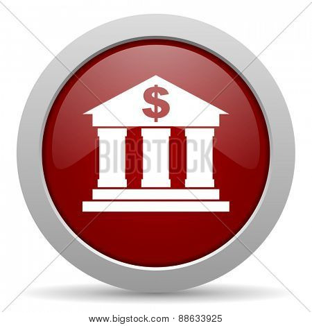bank red glossy web icon