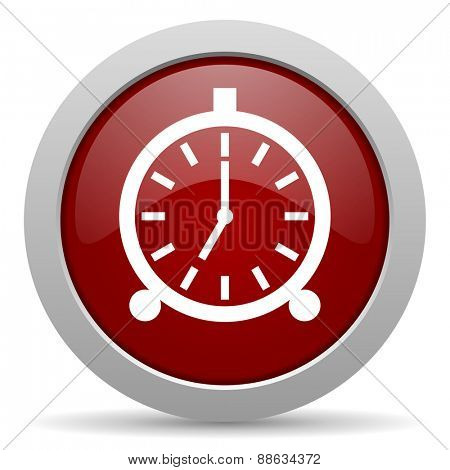 alarm red glossy web icon