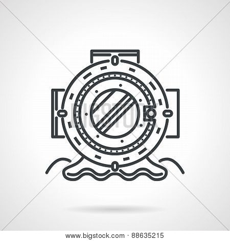 Old scuba helmet black line vector icon