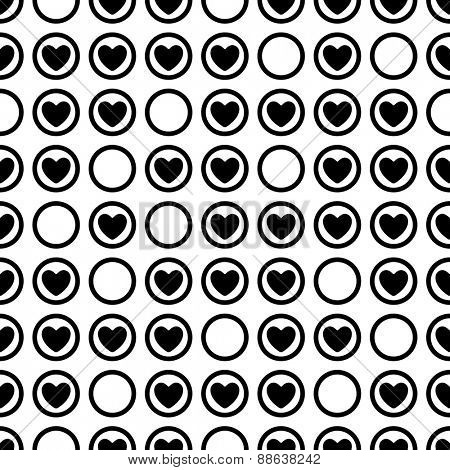 Seamless Heart Pattern. Vector Monochrome Texture