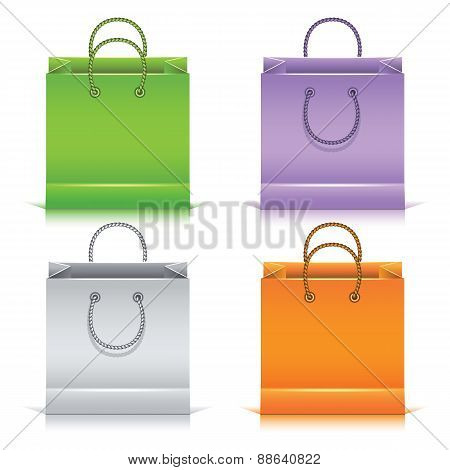 Set Of The Colorful Paper Shopping Bags.