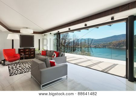 architecture, modern house, beautiful veranda overlooking the lake, interior