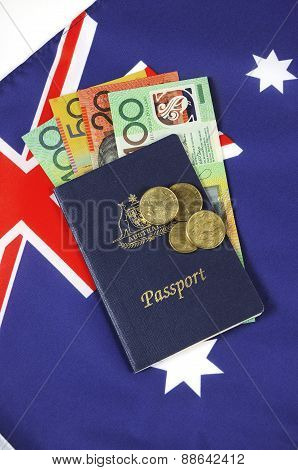Australian Money With Passport.