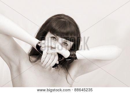 girl in studio on white