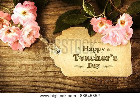 Happy Teachers Day Message With Pink Roses