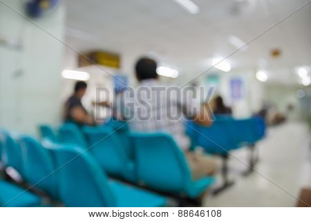 Blurry Defocused Image Of Patient Waiting For Doctor In Hospital For Background