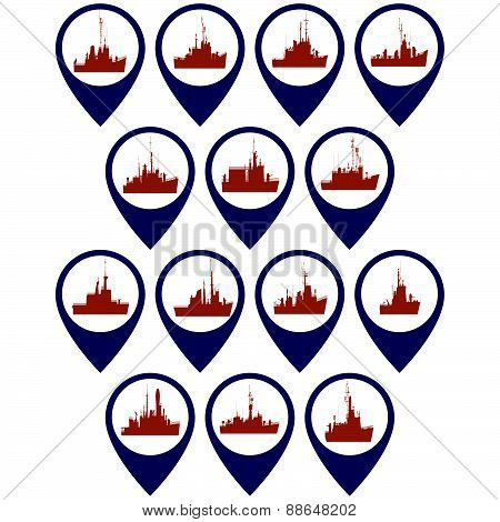 Badges with frigates and corvettes