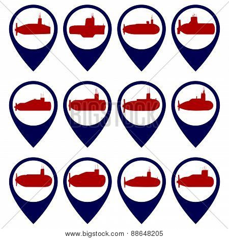 Badges with submarines