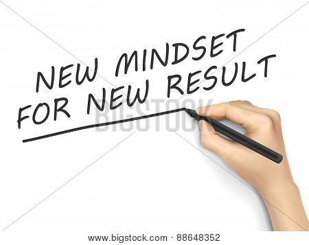 New Mindset For New Result Words Written By Hand