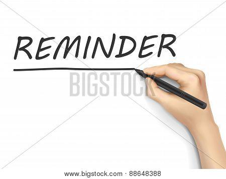 Reminder Word Written By Hand