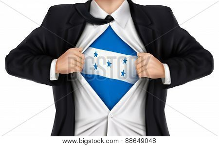 Businessman Showing Honduras Flag Underneath His Shirt