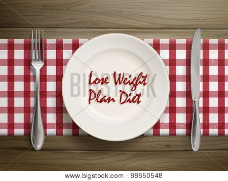 Lose Weight Plan Diet Written By Ketchup On Plate