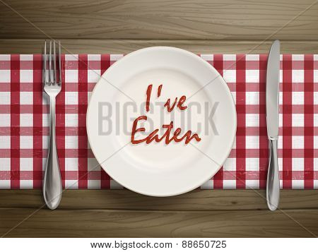 I Have Eaten Written By Ketchup On A Plate