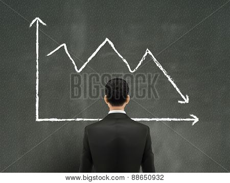 Businessman Looking At Downturn Chart