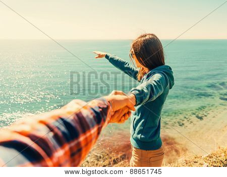 Loving Couple Resting On Beach