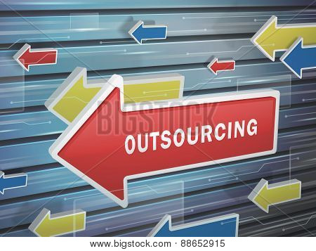 Moving Red Arrow Of Outsourcing Word