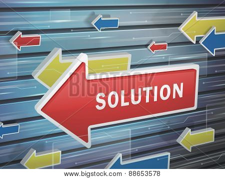 Moving Red Arrow Of Solution Word