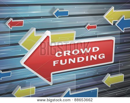 Moving Red Arrow Of Crowd Funding Words