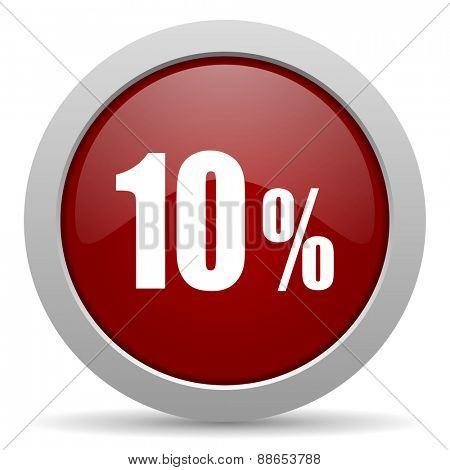 10 percent red glossy web icon