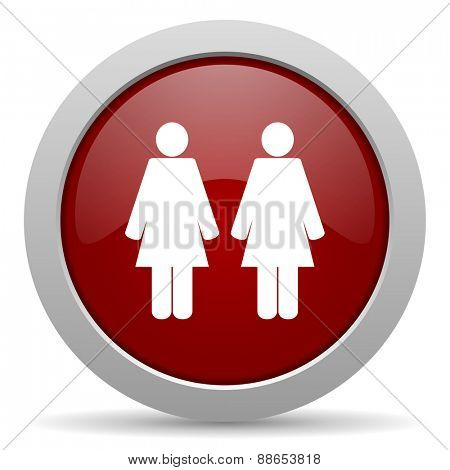 couple red glossy web icon