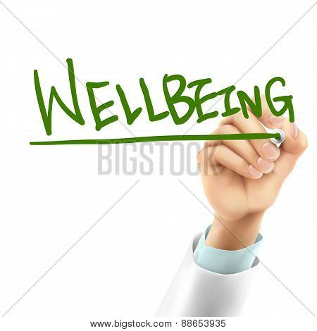 Doctor Writing Wellbeing Word