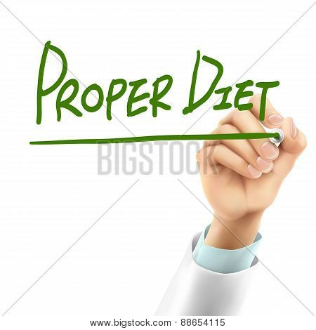 Doctor Writing Proper Diet Words