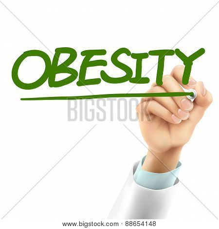 Doctor Writing Obesity Word