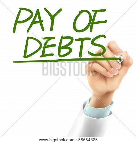 Doctor Writing Pay Of Debts Words