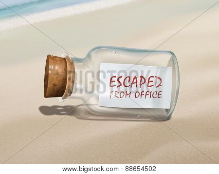 Escaped From Office Message In A Bottle