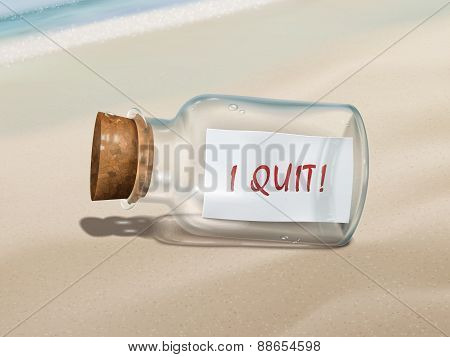 I Quit Message In A Bottle