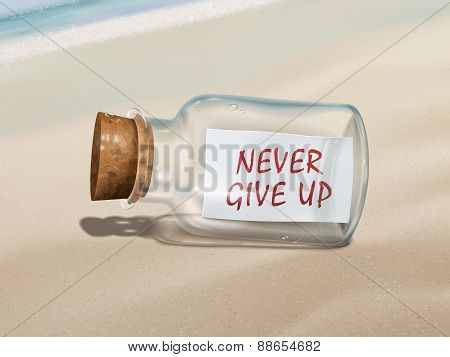 Never Give Up Message In A Bottle