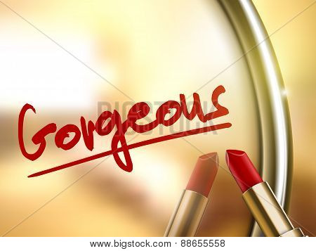 Gorgeous Word Written By Red Lipstick