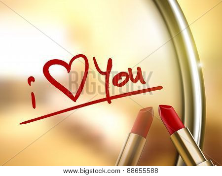 I Love You Words Written By Red Lipstick