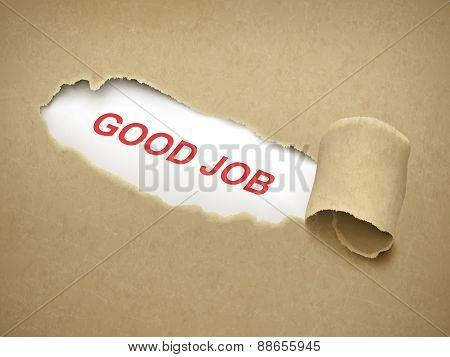 Good Job Words Behind Torn Paper
