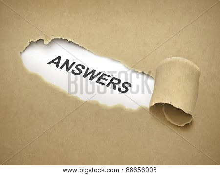 The Word Answer Behind Torn Paper