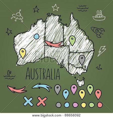 Doodle Australia map on green chalkboard with pins and extras vector illustration