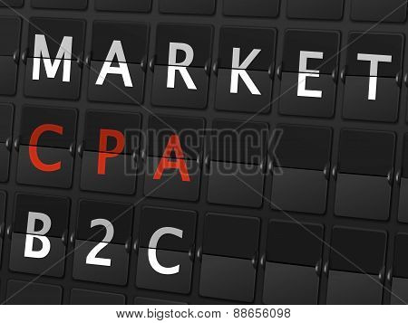 Market Cpa B2C Words On Airport Board