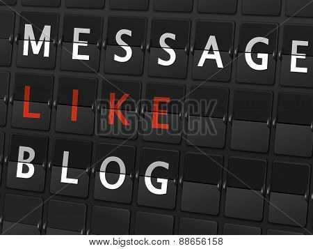 Message Like Blog Words On Airport Board