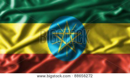 Ethiopia  fabric waving flag