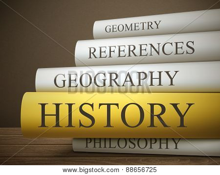 Book Title Of History Isolated On A Wooden Table