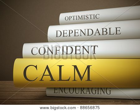 Book Title Of Calm Isolated On A Wooden Table