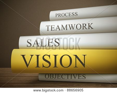 Book Title Of Vision Isolated On A Wooden Table