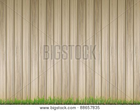 Fresh Grass Over Wood Fence Background